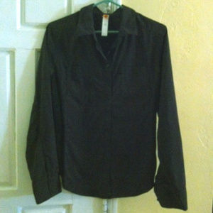 LUCY-Black Long Sleeve Activewear Shirt-Large